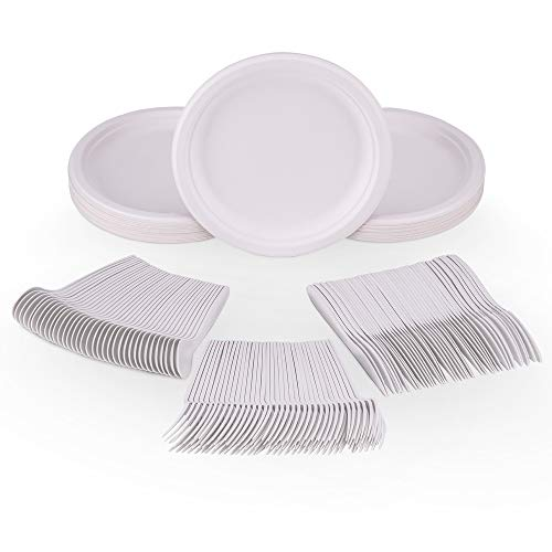 YLK Products Biodegradable Plates and Cutlery Set 200 Pieces Eco Friendly Compostable Disposable Dinnerware Utensils Party Supplies with 50 Plates, 50 Forks, 50 Spoons and 50 Knives