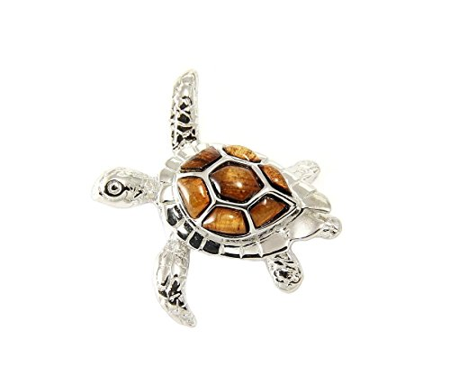 Arthur's Jewelry Genuine Inlay Hawaiian koa Wood sea Turtle Slider Pendant Silver 925 Medium 32mm