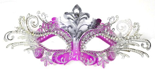 Venetian Pink Mask w/ Silver Metal Laser-cut and Crystals on Eyes