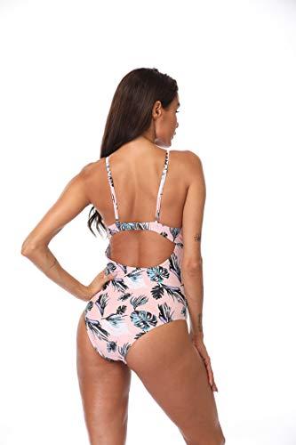 Eomenie One Piece Swimsuit for Women Deep V Cross Slimming Bathing Suit Vintage Lace Swimwear Monokini