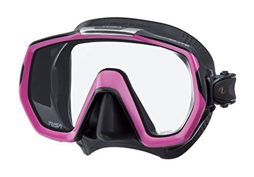 Tusa Freedom Elite Scuba Mask, M-1003 -Black Silicone/Hot Pink by Tusa by Tusa