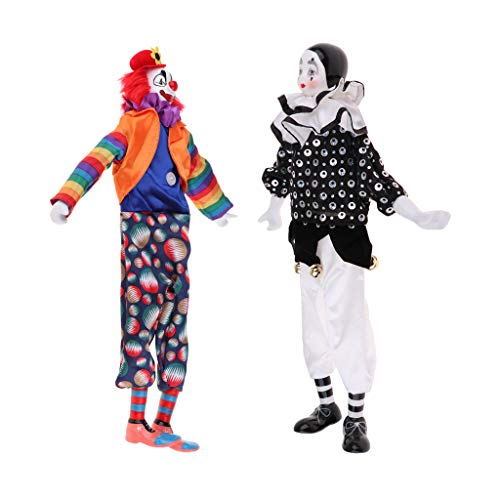 Prettyia 2pcs Porcelain Clown Doll Halloween Christmas Decoration Souvenir Collection ()