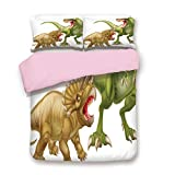 California King Versus King Bed Pink Duvet Cover Set,Queen Size,T Rex Versus Triceratops Fighting Scaring Each Other Wild Reptiles Decorative,Decorative 3 Piece Bedding Set with 2 Pillow Sham,Best Gift For Girls Women,Green Pink Lig