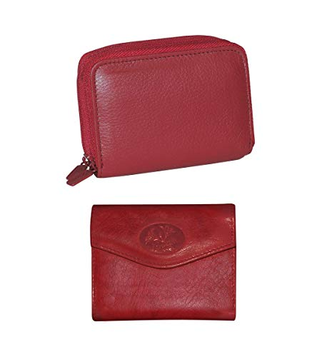Mozlly Value Pack - Buxton Hudson Red Wizard Wallet - 4 x 3.25 inch AND Heiress Mini Tri Fold - Genuine Leather - Snap Closure - Storage Slot - 3.5 x 4.5 inch - Handbags and Accessories (2 Items) ()