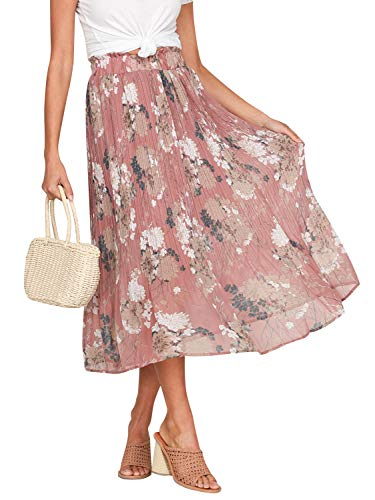 Fashiomo Women's High Waist Chiffon Floral Ruffle Pleated Midi Skirt Pink Print,L