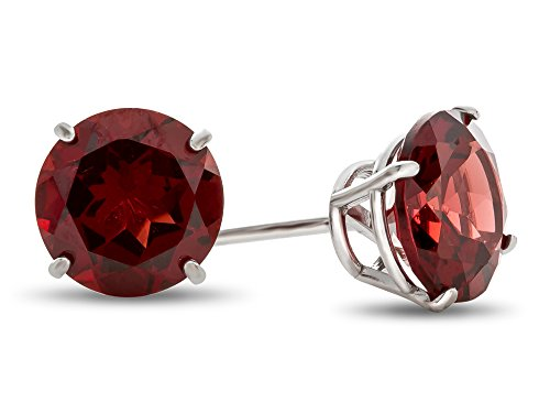 Finejewelers 10k White Gold 7mm Round Garnet Post-With-Friction-Back Stud Earrings (January Earrings 7mm Birthstone)