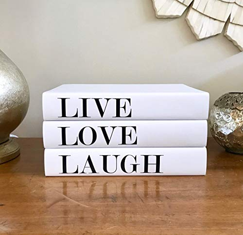 Live Love Laugh Decorative Quote Books, Interior Design Books, Coffee Table Books, Black White Books, Book Decor