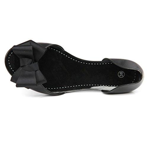 mujeres verano Jelly corbata de moño Sandalias peep toe Zapatos planos Negro