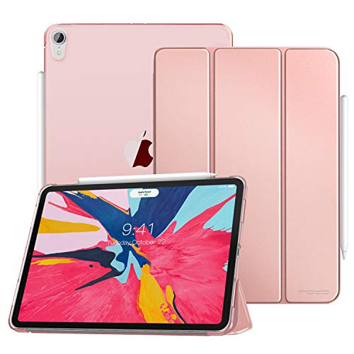 Moko Case Fit Ipad Pro 11 2018 Support Apple Pencil S Magnetic Attachment Feature Slim Lightweight Smart Shell Trifold Stand Cover With Translucent Frosted Back Auto Wake Sleep Rose Gold