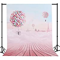 Mehofoto Seamless Backdrop Silk Balloon Photography Background Collapsible Rainbow Photo Backdrop Wood Floor Pink Studio Props 5×7ft