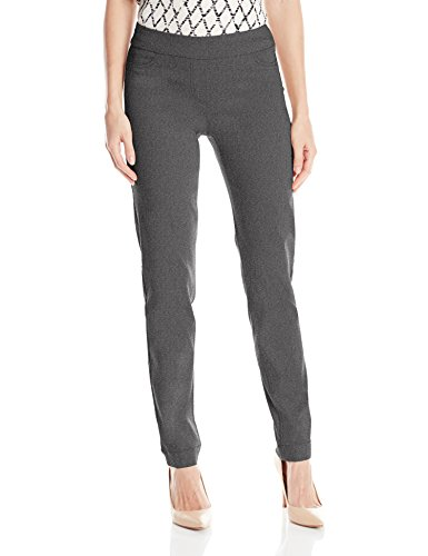 SLIM-SATION Women's Wide Band Pull-on Straight Leg Pant with Tummy Control, Charcoal, 12 (Pant Slim Wool Stretch Womens)
