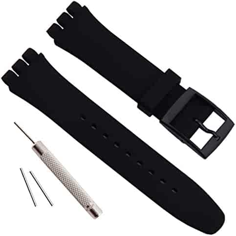 OliBoPo Replacement Waterproof Silicone Rubber Watch Strap Watch Band for Swatch (17mm 19mm 20mm) (17mm, Black)
