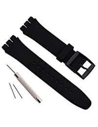 Replacement Waterproof Silicone Rubber Watch Strap Watch Band for Swatch (17mm 19mm 20mm) (20mm, Black)