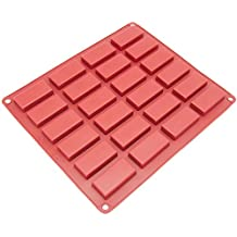 Freshware CB-115RD 24-Cavity Mini Silicone Mold for Homemade Soap, Cake, Chocolate, Candy, Cookie, and More