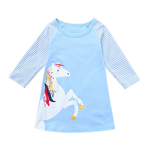 Sunhusing Toddler Baby Spring Clothes Adorable Girls Pony Printed Stripe Long Sleeve Princess Party ()