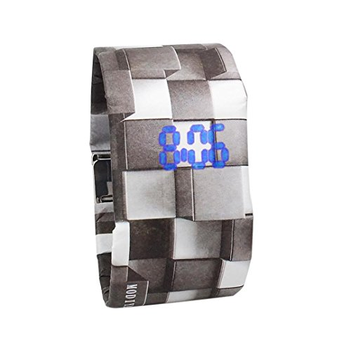 Botrong New Creative Paper Watch LED Waterproof Clock Tyvek Paper Strap Digital Watches (L) (Player Digital Case Creative)