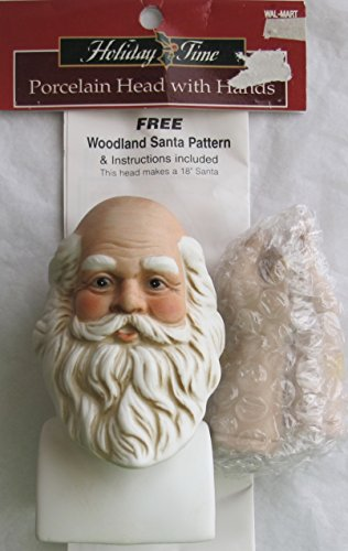 (HOILIDAY TIME Craft SET of 1 PORCELAIN SANTA Doll HEAD 4-3/4