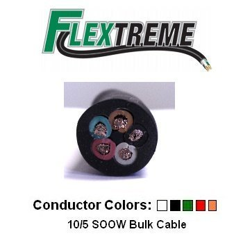 10/5 AWG Bulk Cable 25 Foot - SOOW Jacket, 30 Amps, 5 Wire, 600V ...