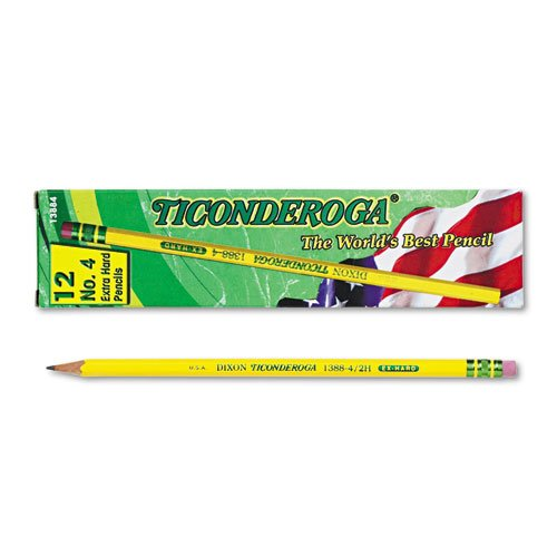 Dixon Ticonderoga Wood-Cased # 4 Extra Hard Pencils, Box of 12, Yellow (13884)