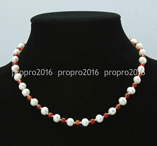 FidgetKute 7-8mm Natural White Akoya Freshwater Pearl & 4mm Red Jade Necklace 18