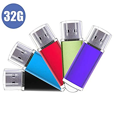 USB Stick, 5 Pack Memory Flash Drive U Disks Stick Pen 2.0 Data Storage Thumb Drives (Mixed Color) from JUYUKEJI