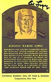 Al Lopez Autographed Baseball HOF Plaque - Autographed MLB Photos