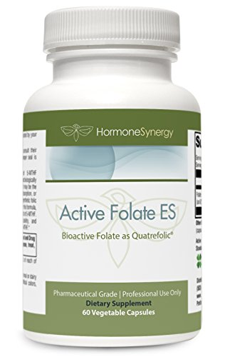 Active Folate ES | 5-MTHF | 10,000 mcg (10 mg) per serving | 5-MTHF (as 5-methyltetrahydrofolate) | Bioactive Folate as Quatrefolic® | 60 Veg Caps | + eBook by HormoneSynergy