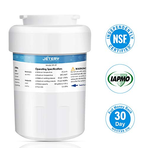 JETERY NSF/ANSI-42 Certified GE MWF Refrigerator Water Filter Replacement, Smartwater Fridge Cartridge Compatible for GE MWFA, MWFP, GWF, GWFA, GWF06, 46-9991, Pack of 1