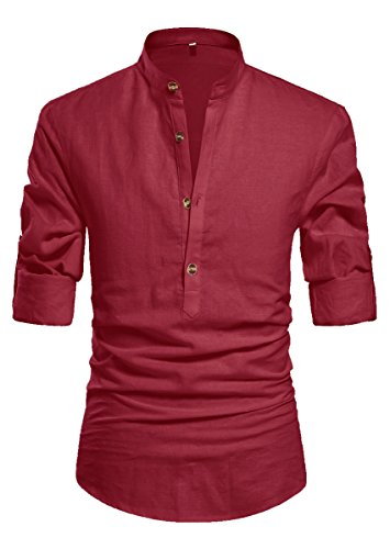 NITAGUT Men Henley Neck Long Sleeve Daily Look Linen Shirts Wine Red-US M
