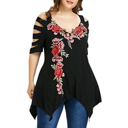 FEITONG Women Plus Size Shredding Ripped Cut Sleeve Embroidery Irregular Hem T-Shirt Tops(XX-Large,Black) ()