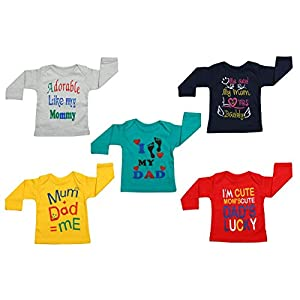 Fareto® Baby Mom & Dad Quotes Combo of 5 Full Sleeves Printed T-Shirts