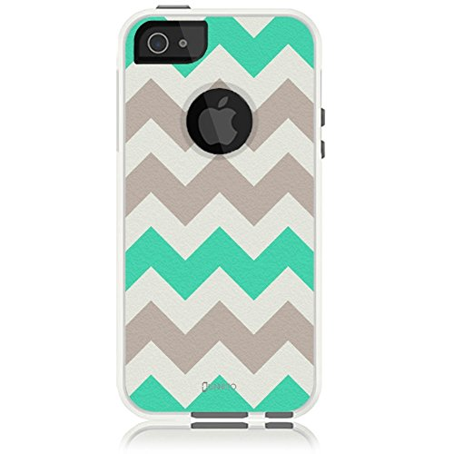 Unnito iPhone 5 Case - Hybrid Commuter Case | Slim Cover with Hard Shell Design and Soft Inner Layer Compatible with iPhone 5S / SE White Case - Chevron Mint Green