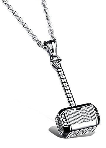 Ostan Bijoux Hommes 316L Acier inoxydablel Gothique Pendentif Collier - Nouveaux Fashion Bijoux Hommes Collier, Argent et Noir