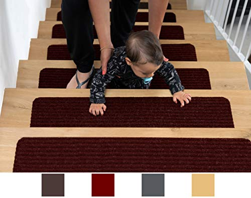 "EdenProducts Patent Pending Non Slip Carpet Stair Treads, Set of 15, Rug Non Skid Runner for Grip and Beauty. Safety Slip Resistant for Kids, Elders, and Dogs. 8"" X 30"", Red, Pre Applied Adhesive"