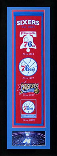 Wall Decor Collector (Legends Never Die NBA Philadelphia 76ers Team Heritage Banner with Photo, Team Colors, 15