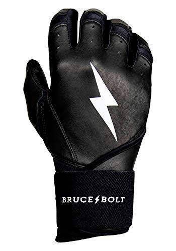BRUCE+BOLT Premium 100% Cabretta Leather Long Cuff Batting Gloves - Black Medium