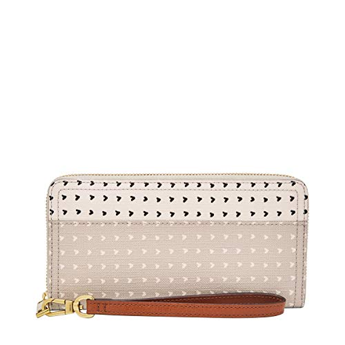 Fossil Women's Logan PVC Zip Around Clutch Wallet, Hearts