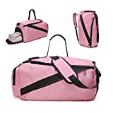 tuokener Sports Duffel Bag Nylon Medium with Shoes Compartment and Shoulder Strap for Women and Girls (pink, Medium)
