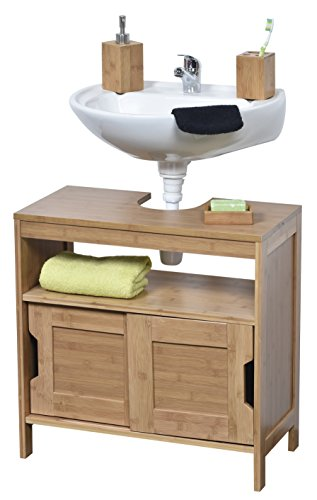 Non Pedestal Under Sink Storage Vanity Cabinet MAHE Bamboo by EVIDECO