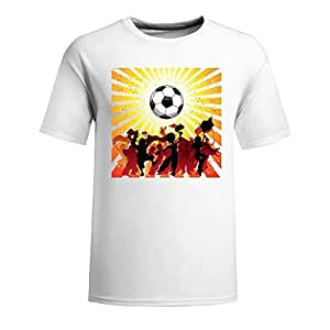 Custom Mens Cotton Short Sleeve Round Neck T-shirt,2014 Brazil FIFA World Cup Soccer Crowd Silhouette white
