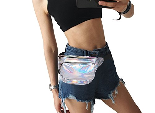 MSFS Women Hologram Bum Waist Bag Laser Funny Pack Waterproof Shiny Neon Pack for Travel Festival Beach (Silver) by MSFS (Image #6)