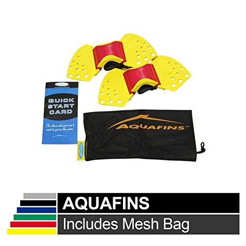 TheraBand Aquafins Aquatic Exercise Kit for Water Resistance Training for Upper/Lower Body, Pool Physical Therapy, Water Aerobics Equipment, 2 Fins, Mesh Bag, and Quick Start Exercise Instructions