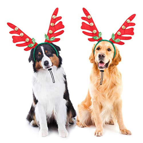 BINGPET 2 Set Christmas Reindeer Antler Headbands for Dogs -