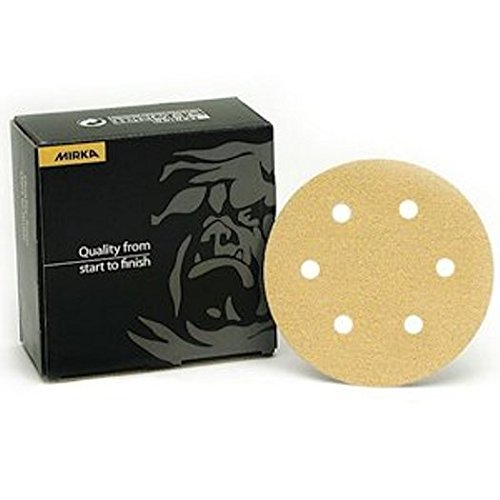 Mirka 23-624-060 6'' 6-Hole 60 Grit Dustless Hook & Loop Sanding Discs - 50 Pack by Mirka