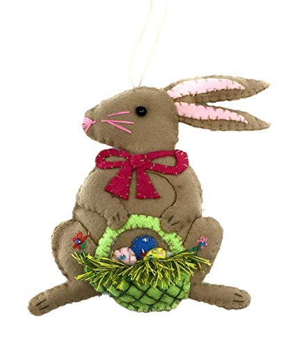 (Ruth + Wilde Easter Bunny w/Basket Hanging Ornament, Handmade (Brown))