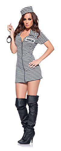 Underwraps Women's Miss Behaved, Black/White, (Womens Prisoner Costumes)