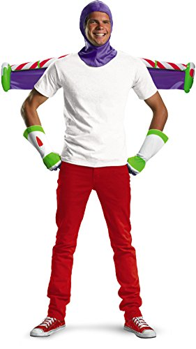 Buzz Lightyear Fancy Dress Adult (Disguise Men's Disney Pixar Toy Story and Beyond Buzz Lightyear Adult Costume Kit, White/Purple/Green/Red, One Size)