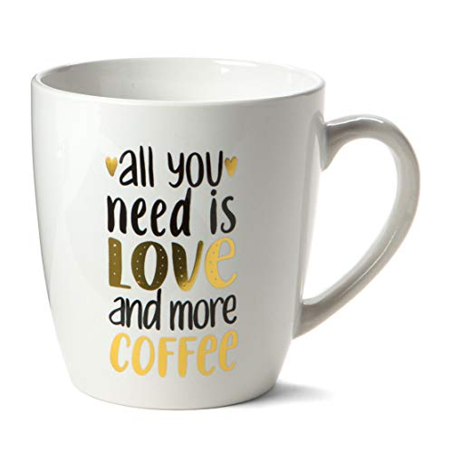 (Ceramic Reusable Coffee/Tea Mug: Cute Novelty Hot Coffee or Tea Cup with Unique Phrase, Design and Sturdy Handle - 15 Ounce - All You Need Is Love & Coffee (white))