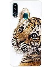 Uposao Funda para Samsung Galaxy A20S Carcasa Transparente Dibujos Belleza Cool Lindo Motivo Silicona Gel TPU Suave Ultra Delgado Híbrido Case Bumper Antichoque Funda de Protector,pequeño Tigre