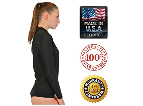 Mma Womens Shirt (Rash Guard Women Long Sleeve - Womens Swim Shirt - MADE IN USA - ON SALE TODAY - Goddess Rash Guards Are The Ultimate Athletic Compression Shirt. Perfect for Workouts, Crossfit, Swimming, Surfing, Biking and Even Running. Some Goddess's Use Them As Swimsuit or Bathing Suit Coverups. Great For Sun Protection at the Beach, Lake or Wherever You Decide to Be Working out or Relaxing in the Sun. Size's available include XS, Small, Medium, Large, XL. (Black, Medium))